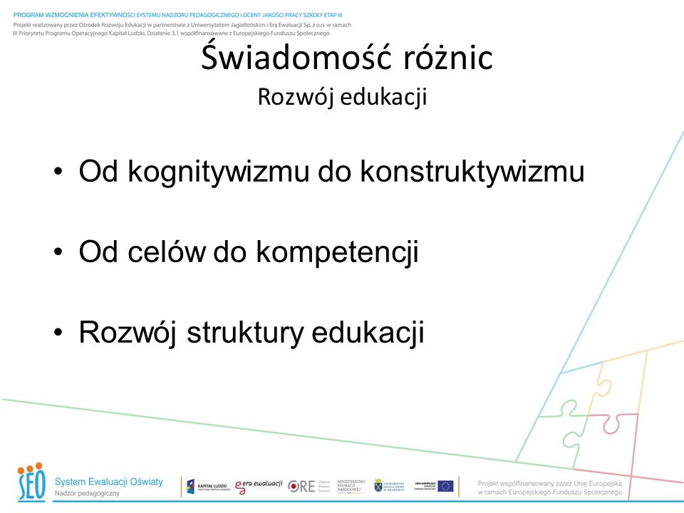 Od kognitywizmu do konstruktywizmu Od celów do kompetencji Rozwój struktury edukacji