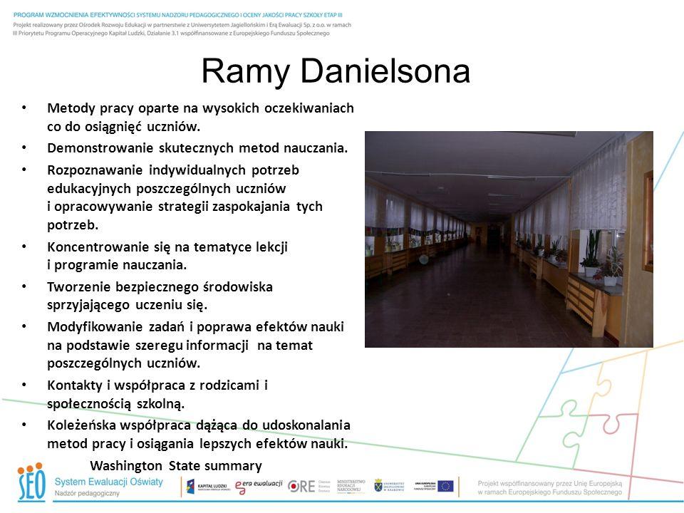 Ramy Danielsona Metody pracy oparte na wysokich oczekiwaniach co do osiągnięć uczniów. Demonstrowanie skutecznych metod nauczania. Rozpoznawanie indyw