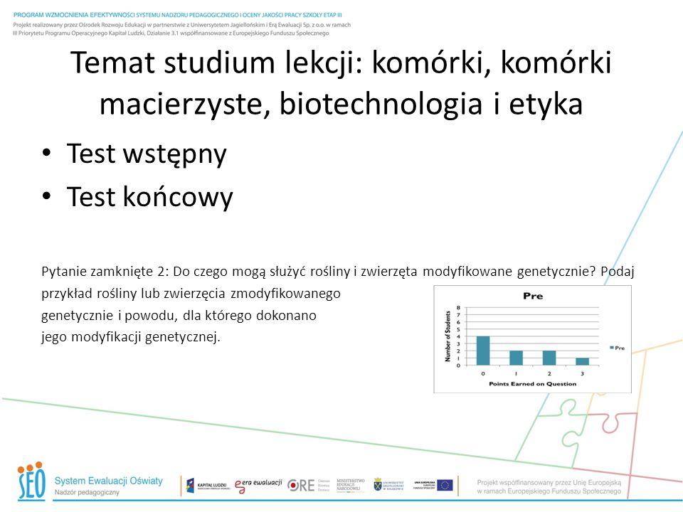 Temat studium lekcji: komórki, komórki macierzyste, biotechnologia i etyka Test wstępny Test końcowy Pytanie zamknięte 2: Do czego mogą służyć rośliny