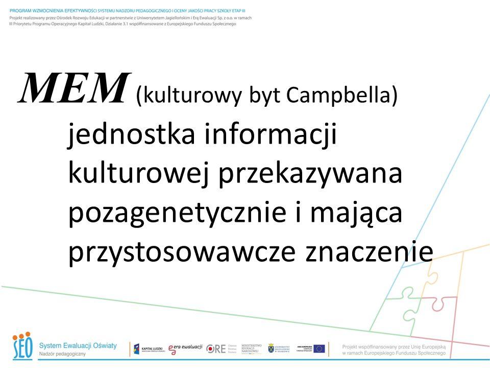 MEM (kulturowy byt Campbella) jednostka informacji kulturowej przekazywana pozagenetycznie i mająca przystosowawcze znaczenie