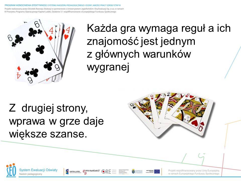 Każda gra wymaga reguł a ich znajomość jest jednym z głównych warunków wygranej Z drugiej strony, wprawa w grze daje większe szanse.