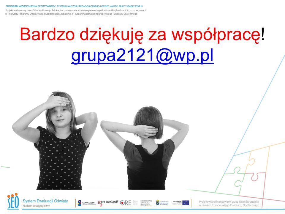Bardzo dziękuję za współpracę! grupa2121@wp.pl grupa2121@wp.pl