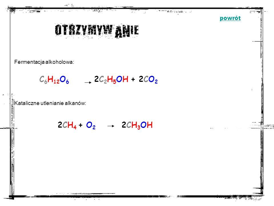 M ETANOL E TANOL - OHR R - grupa węglowodorowa OHOH - grupa hydroksylowa powrót