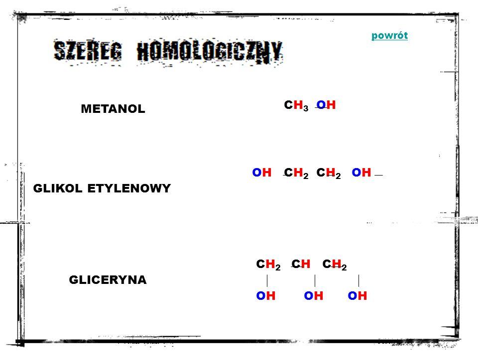 Fermentacja alkoholowa: C 6 H 12 O 6 2C 2 H 5 OH + 2CO 2 Kataliczne utlenianie alkanów: 2CH 4 + O 2 2CH3OH2CH3OH powrót
