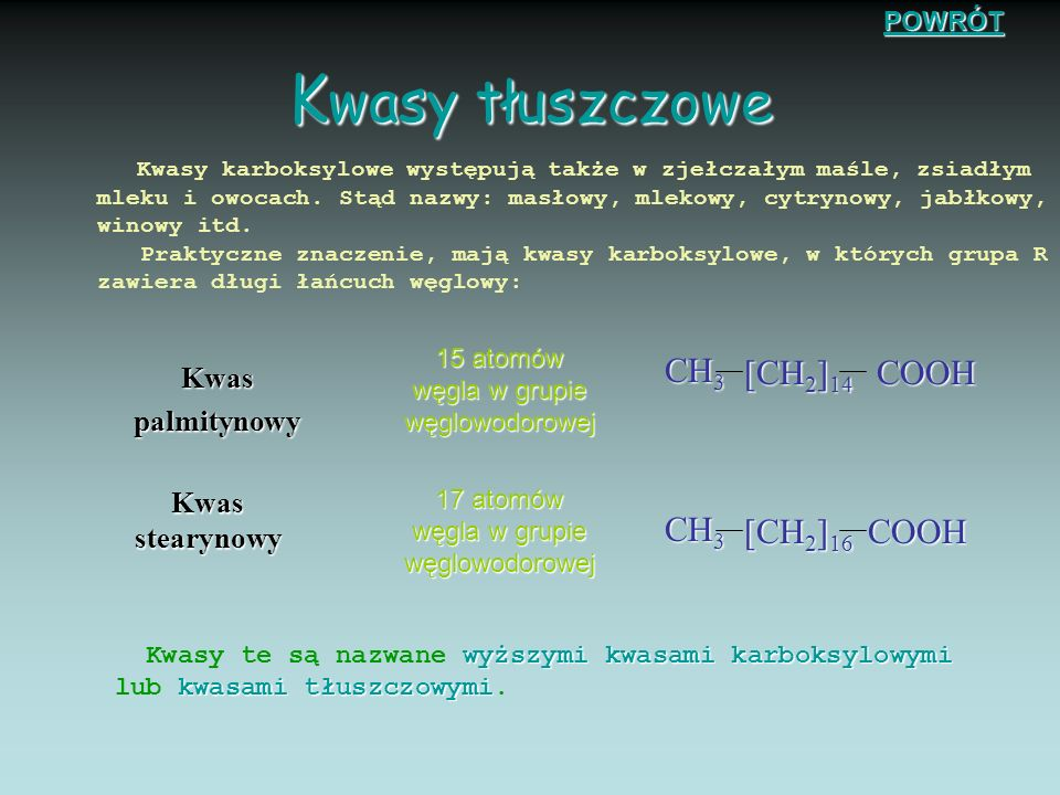 K was octowy W cząstcegrupą R jest metyl: W cząstce kwasu octowego grupą R jest metyl: model cząsteczki wzór strukturalny wzór grupowy F ermentacja oc