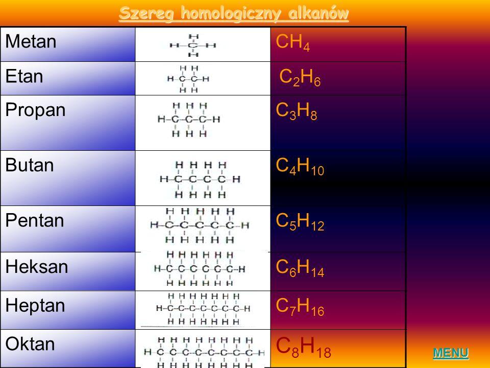 Szereg homologiczny alkanów MENU MetanCH 4 Etan C2H6 C2H6 PropanC3H8C3H8 ButanC 4 H 10 PentanC 5 H 12 HeksanC 6 H 14 HeptanC 7 H 16 Oktan C 8 H 18