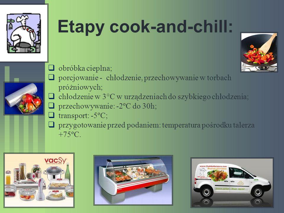 Etapy cook-and-chill: obróbka cieplna; porcjowanie - chłodzenie, przechowywanie w torbach próżniowych; chłodzenie w 3°C w urządzeniach do szybkiego ch