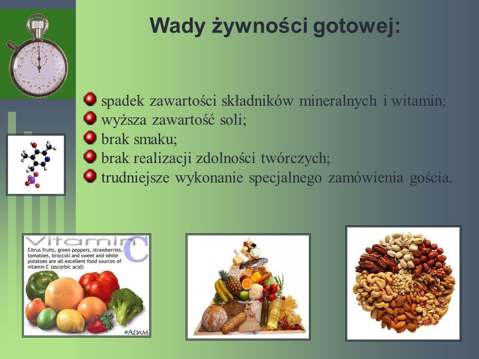 Wady żywności gotowej: spadek zawartości składników mineralnych i witamin; wyższa zawartość soli; brak smaku; brak realizacji zdolności twórczych; tru
