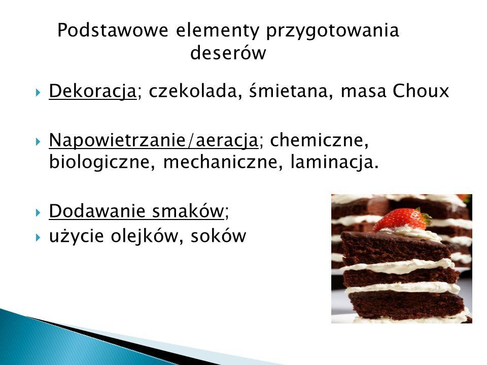 Dekoracja; czekolada, śmietana, masa Choux Napowietrzanie/aeracja; chemiczne, biologiczne, mechaniczne, laminacja. Dodawanie smaków; użycie olejków, s