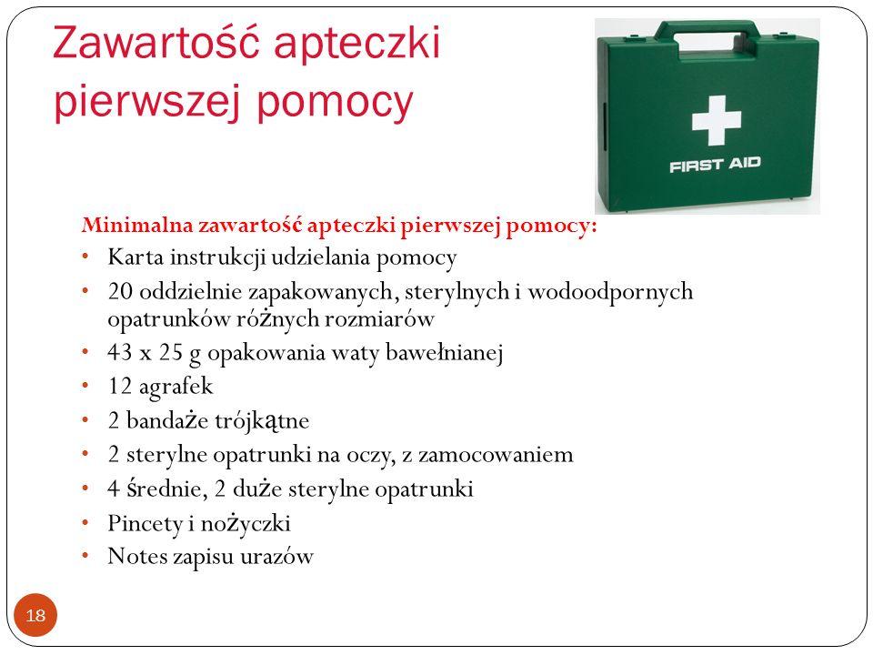 Obowiązek pierwszej pomocy 17 Pracodawcy musz ą zapewni ć : Osoby do udzielania pomocy Wyznaczone osoby Sprz ę t pierwszej pomocy Pomieszczenia pierws