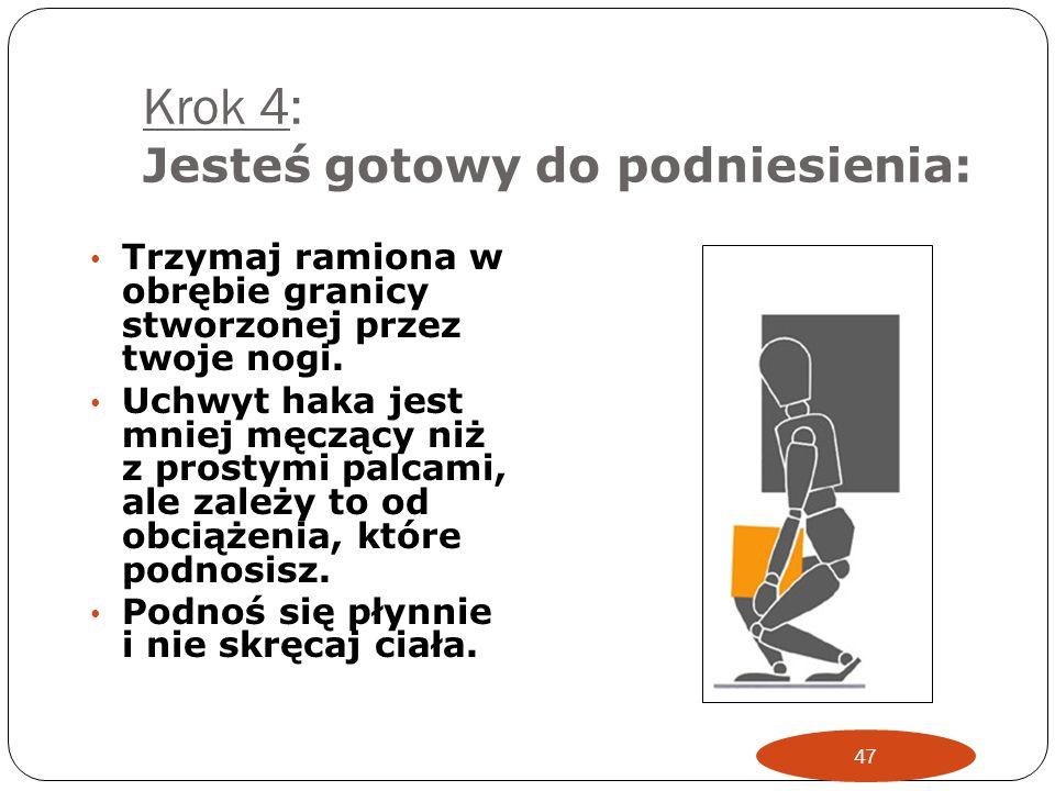 Krok 3: Obecnie trzeba wziąć pod uwagę twoją postawę : Zegnij kolana Utrzymuj plecy prosto Dobrze trzymając paczkę, przechyl się do przodu jeśli to ko