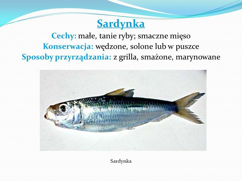 Sardynka Cechy: małe, tanie ryby; smaczne mięso Konserwacja: wędzone, solone lub w puszce Sposoby przyrządzania: z grilla, smażone, marynowane Sardynk