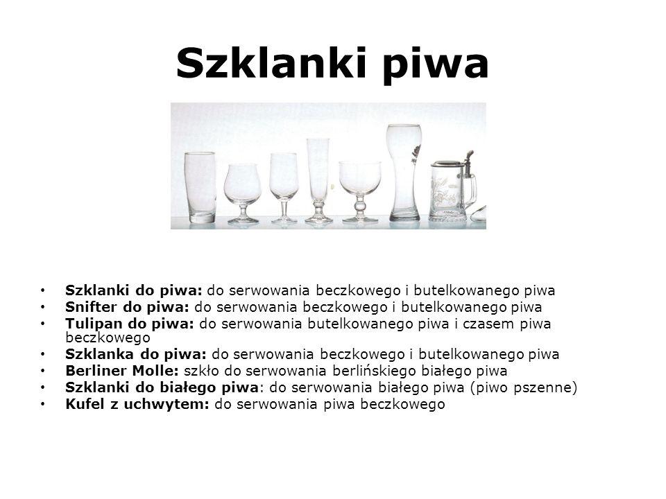Szklanki piwa (Spójrz na szkło od lewej strony do prawej strony) Szklanki do piwa: do serwowania beczkowego i butelkowanego piwa Snifter do piwa: do s