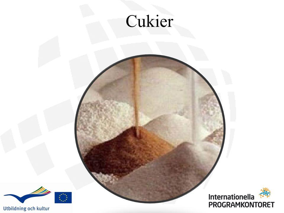 Cukier granulowany Cukier jest najczęstszym słodzikiem, zwykle w kształcie maleńkich kryształków.