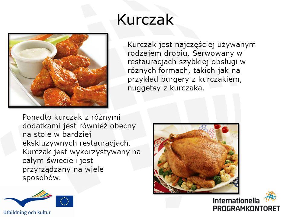 Kurczak Kurczak jest najczęściej używanym rodzajem drobiu. Serwowany w restauracjach szybkiej obsługi w różnych formach, takich jak na przykład burger