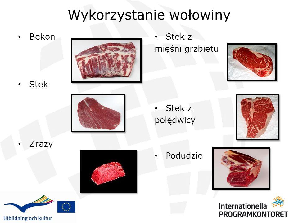 Wykorzystanie wołowiny Bekon Stek Zrazy Stek z mięśni grzbietu Stek z polędwicy Podudzie