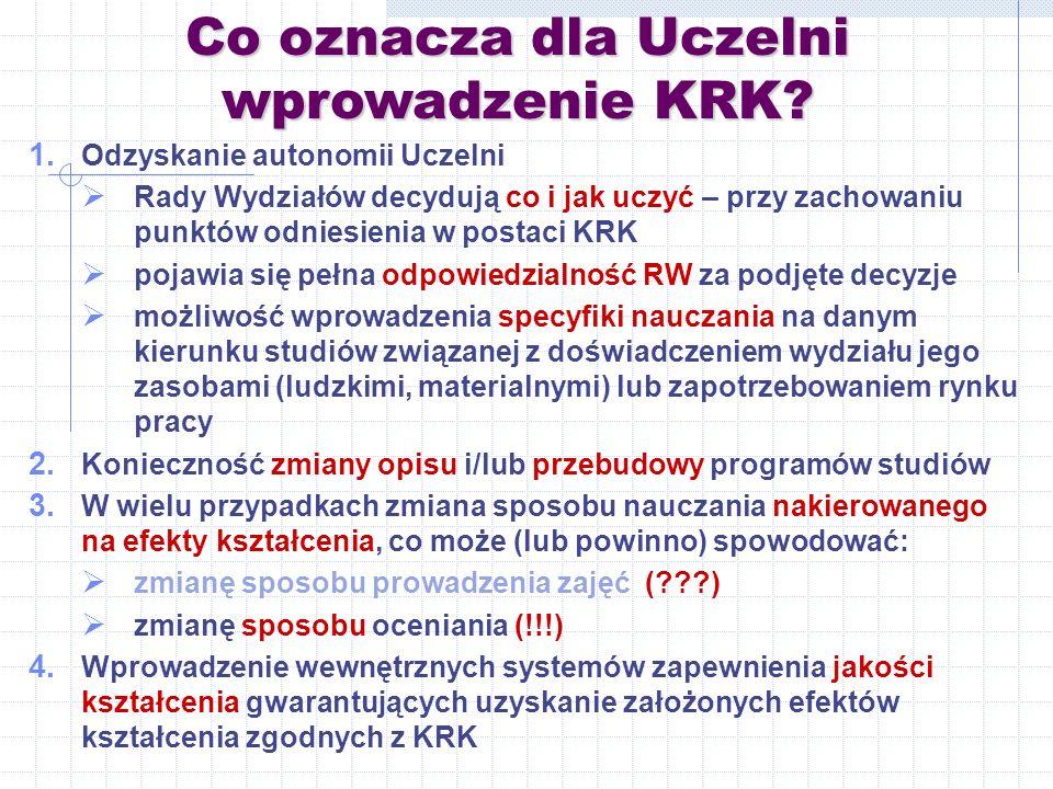Co oznacza dla Uczelni wprowadzenie KRK.1.