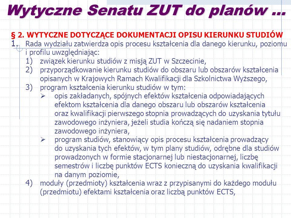 Wytyczne Senatu ZUT do planów...§ 2. WYTYCZNE DOTYCZĄCE DOKUMENTACJI OPISU KIERUNKU STUDIÓW 1.