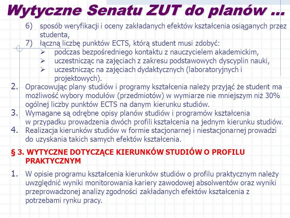 Wytyczne Senatu ZUT do planów...