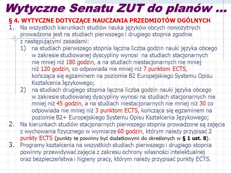 Wytyczne Senatu ZUT do planów...§ 4. WYTYCZNE DOTYCZĄCE NAUCZANIA PRZEDMIOTÓW OGÓLNYCH 1.