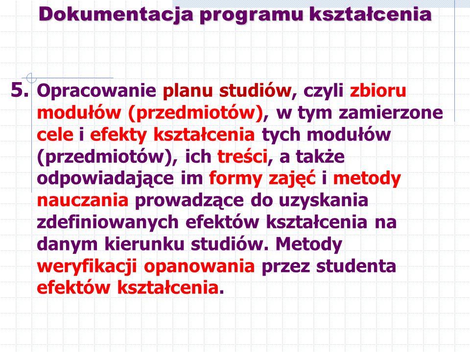 5. Opracowanie planu studiów, czyli zbioru modułów (przedmiotów), w tym zamierzone cele i efekty kształcenia tych modułów (przedmiotów), ich treści, a
