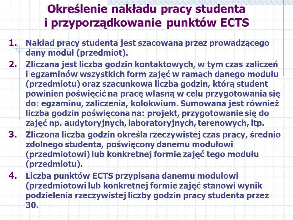 Określenie nakładu pracy studenta i przyporządkowanie punktów ECTS 1.