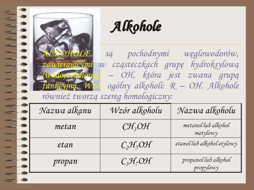 Pochodne węglowodorów Rozdział ten obejmuje: 1.Alkohole 2.Kwasy karboksylowe 3.Mydła i inne środki piorące 4.Estry 5.Aminy i aminokwasy