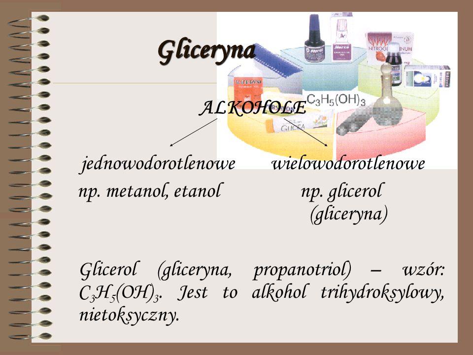 Właściwości wybranych alkoholi METANOL bezbarwna ciecz łatwo rozpuszczalny w wodzie ma charakterystyczny zapach silna trucizna palny ETANOL bezbarwna