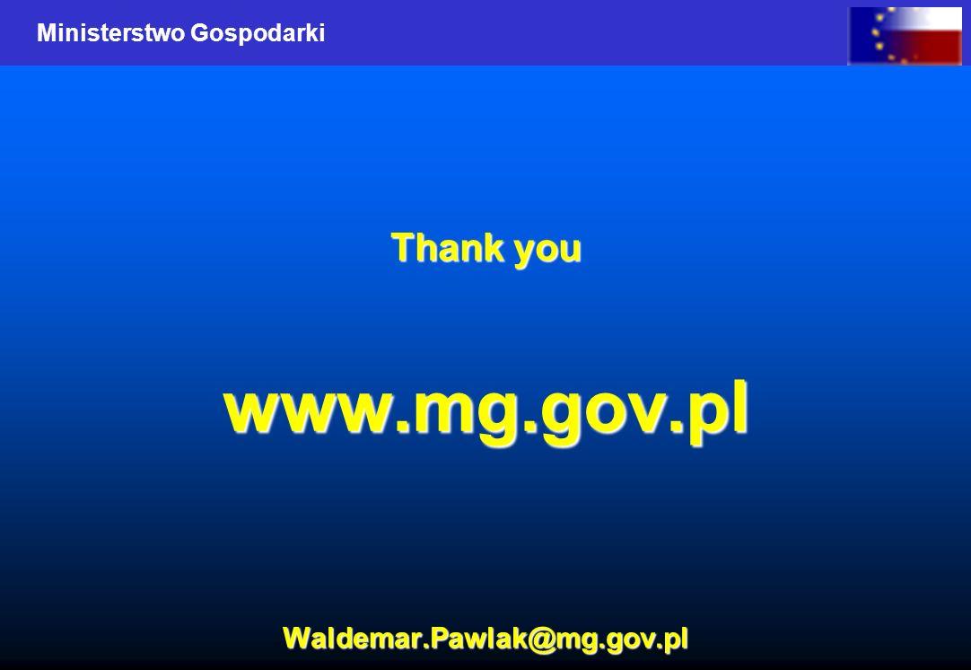 Ministerstwo Gospodarki Thank you www.mg.gov.pl Waldemar.Pawlak@mg.gov.pl