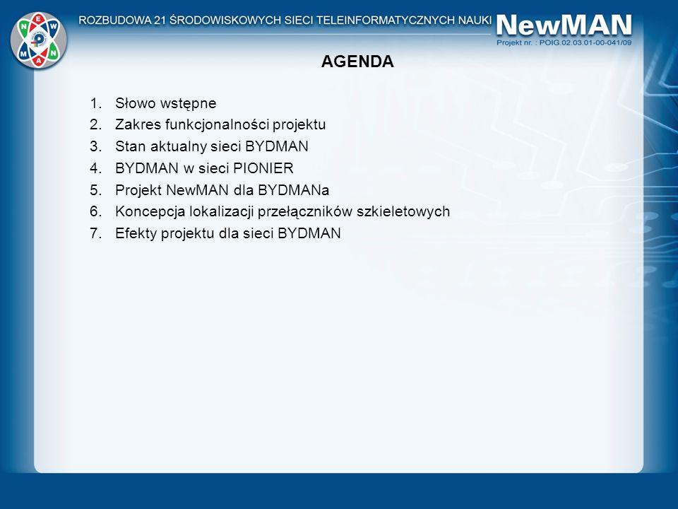 AGENDA 1.Słowo wstępne 2.Zakres funkcjonalności projektu 3.Stan aktualny sieci BYDMAN 4.BYDMAN w sieci PIONIER 5.Projekt NewMAN dla BYDMANa 6.Koncepcj