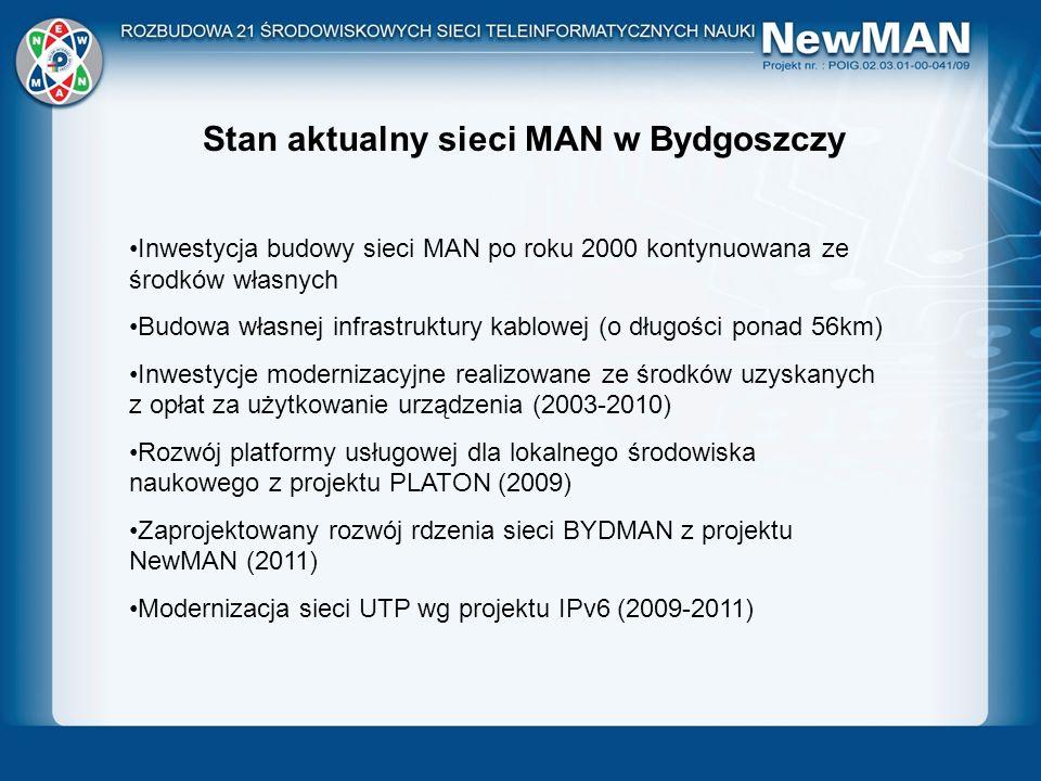 Sieć krajowa PIONIER Stan aktualny sieci MAN w Bydgoszczy Inwestycja budowy sieci MAN po roku 2000 kontynuowana ze środków własnych Budowa własnej inf