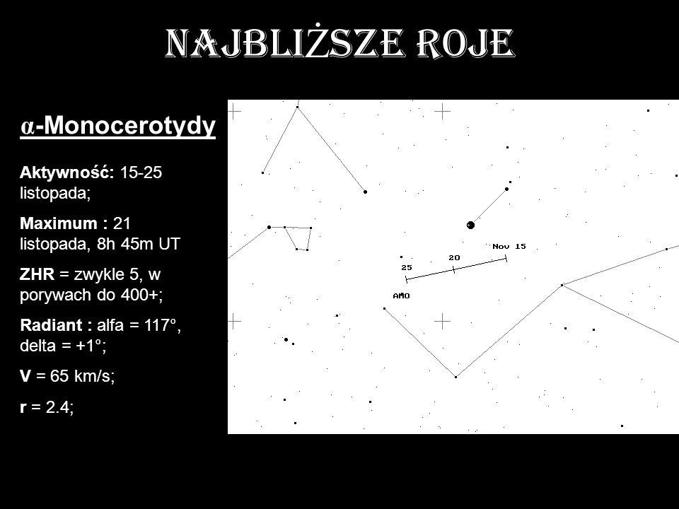 NAJBLI Ż SZE ROJE Aktywność: 15-25 listopada; Maximum : 21 listopada, 8h 45m UT ZHR = zwykle 5, w porywach do 400+; Radiant : alfa = 117°, delta = +1°