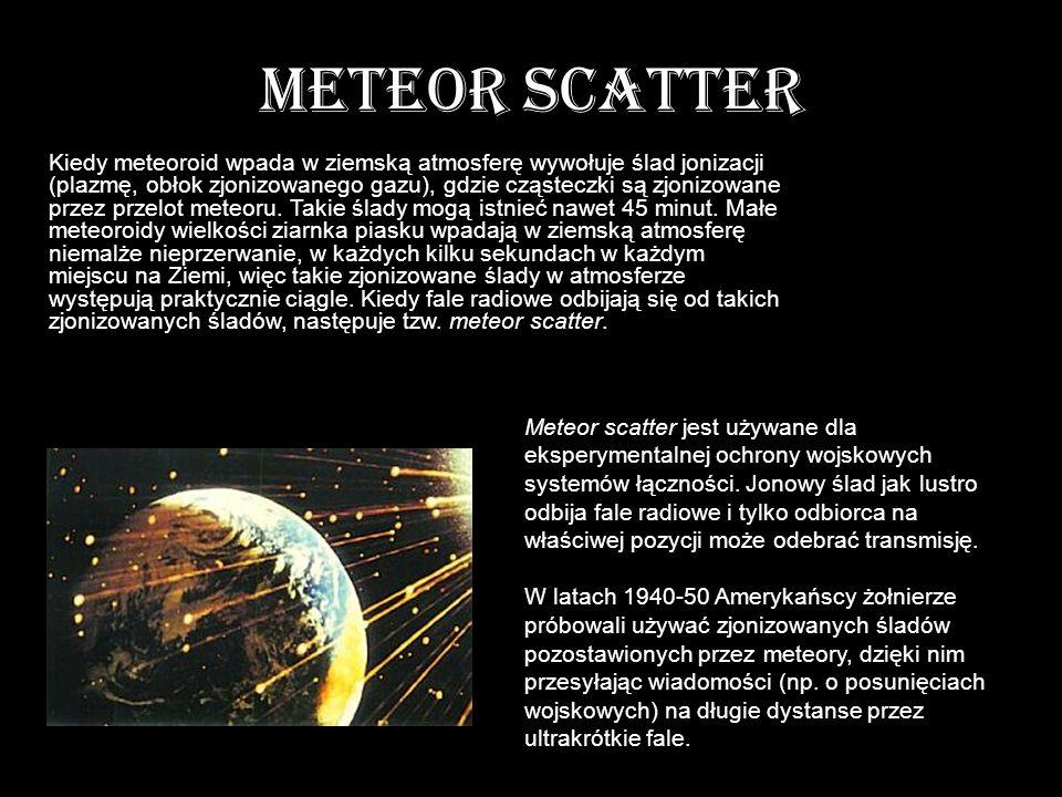 METEOR SCATTER Kiedy meteoroid wpada w ziemską atmosferę wywołuje ślad jonizacji (plazmę, obłok zjonizowanego gazu), gdzie cząsteczki są zjonizowane p