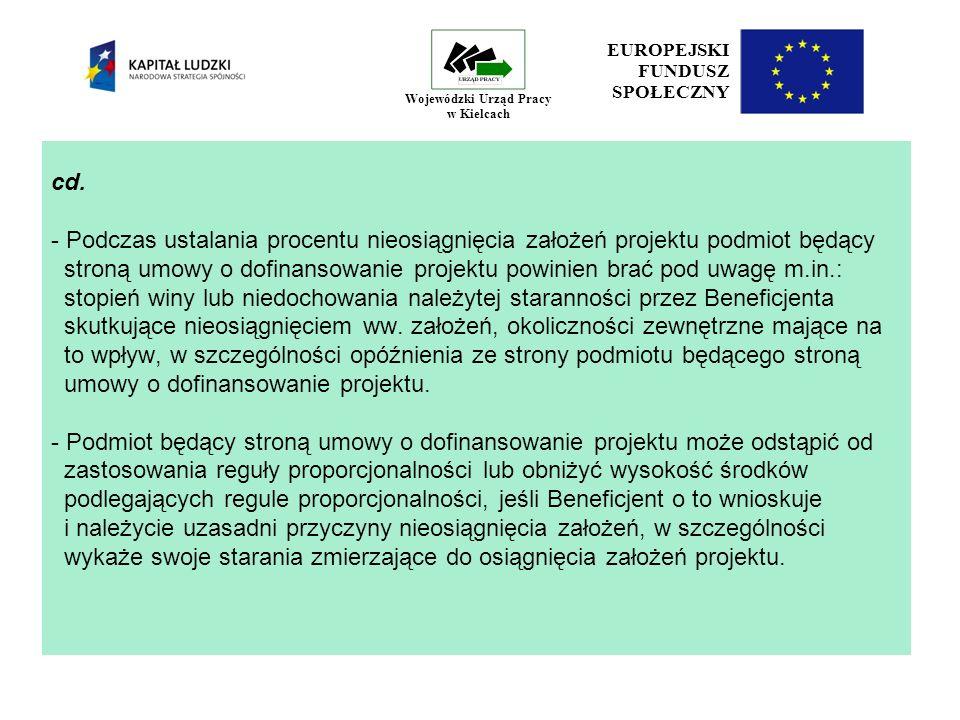 EUROPEJSKI FUNDUSZ SPOŁECZNY Wojewódzki Urząd Pracy w Kielcach cd.