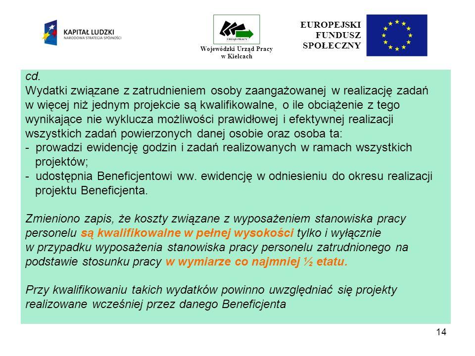 14 EUROPEJSKI FUNDUSZ SPOŁECZNY Wojewódzki Urząd Pracy w Kielcach cd.
