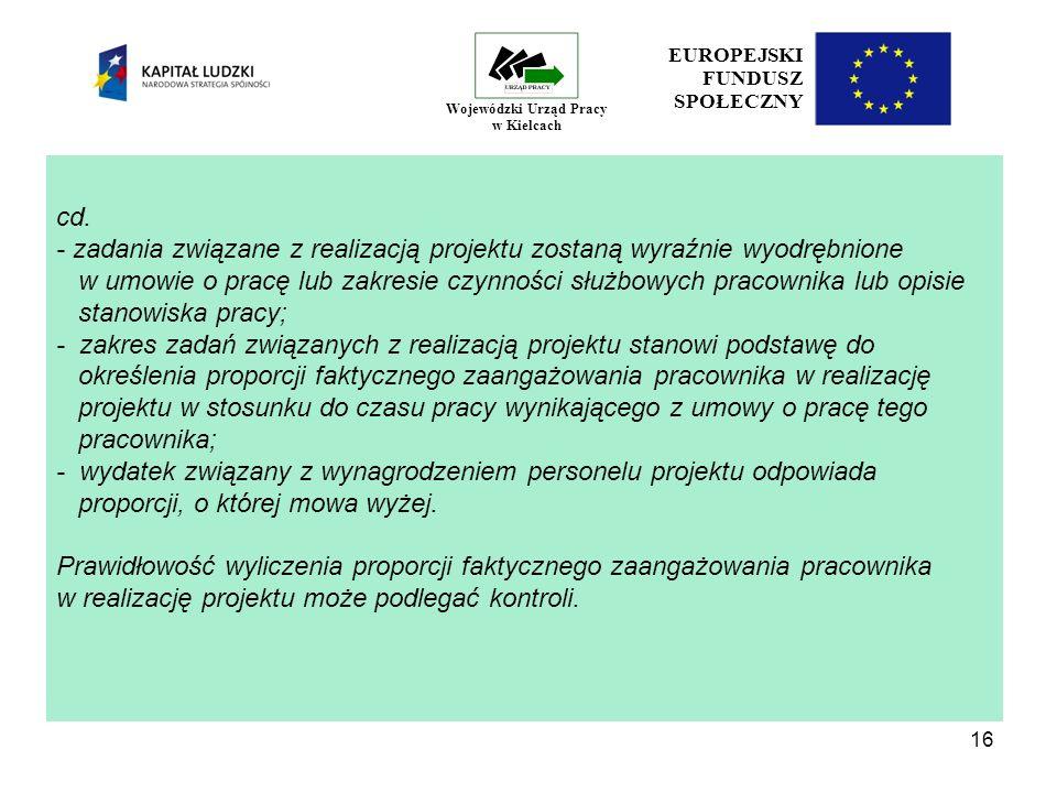 16 EUROPEJSKI FUNDUSZ SPOŁECZNY Wojewódzki Urząd Pracy w Kielcach cd.