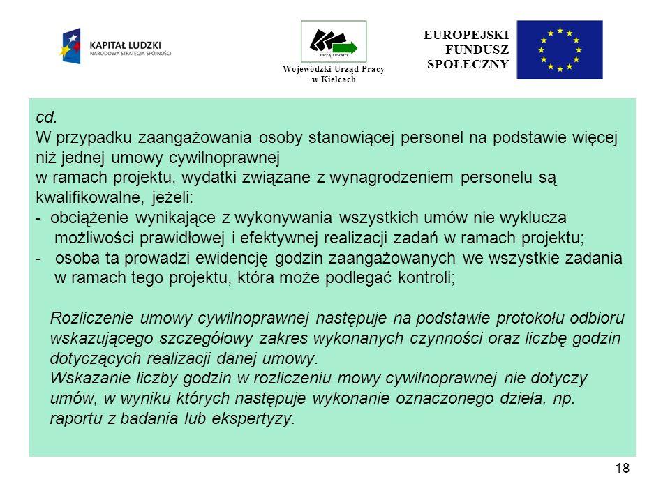 18 EUROPEJSKI FUNDUSZ SPOŁECZNY Wojewódzki Urząd Pracy w Kielcach cd.