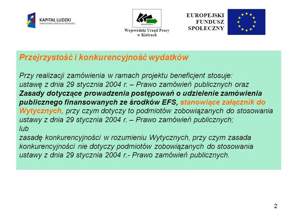 13 EUROPEJSKI FUNDUSZ SPOŁECZNY Wojewódzki Urząd Pracy w Kielcach Zatrudnianie personelu Zasady ogólne - Wydatki związane z wynagrodzeniem personelu są ponoszone zgodnie z przepisami krajowymi, w szczególności zgodnie z Kodeksem pracy oraz z Kodeksem cywilnym.
