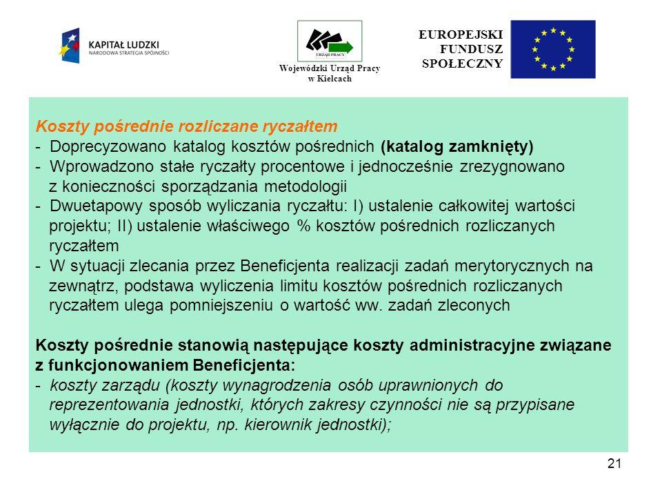 21 EUROPEJSKI FUNDUSZ SPOŁECZNY Wojewódzki Urząd Pracy w Kielcach Koszty pośrednie rozliczane ryczałtem - Doprecyzowano katalog kosztów pośrednich (katalog zamknięty) - Wprowadzono stałe ryczałty procentowe i jednocześnie zrezygnowano z konieczności sporządzania metodologii - Dwuetapowy sposób wyliczania ryczałtu: I) ustalenie całkowitej wartości projektu; II) ustalenie właściwego % kosztów pośrednich rozliczanych ryczałtem - W sytuacji zlecania przez Beneficjenta realizacji zadań merytorycznych na zewnątrz, podstawa wyliczenia limitu kosztów pośrednich rozliczanych ryczałtem ulega pomniejszeniu o wartość ww.