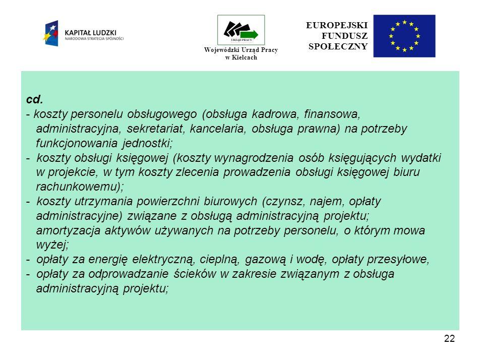 22 EUROPEJSKI FUNDUSZ SPOŁECZNY Wojewódzki Urząd Pracy w Kielcach cd.