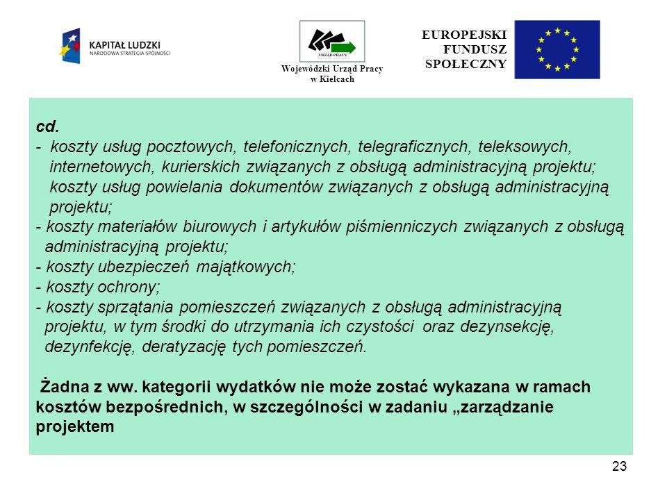 23 EUROPEJSKI FUNDUSZ SPOŁECZNY Wojewódzki Urząd Pracy w Kielcach cd.