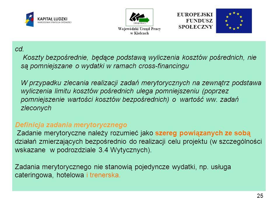 25 EUROPEJSKI FUNDUSZ SPOŁECZNY Wojewódzki Urząd Pracy w Kielcach cd.