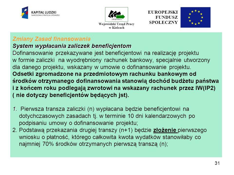 31 EUROPEJSKI FUNDUSZ SPOŁECZNY Wojewódzki Urząd Pracy w Kielcach System wypłacania zaliczek beneficjentom D 1.