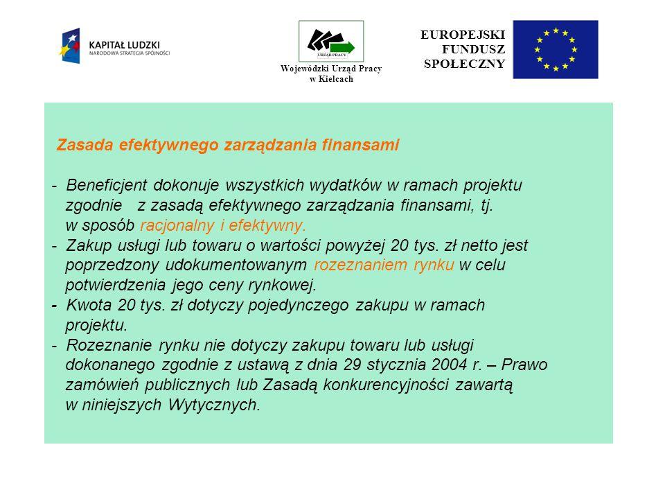 28 EUROPEJSKI FUNDUSZ SPOŁECZNY Wojewódzki Urząd Pracy w Kielcach Limit kosztów zarządzania projektem Wartość projektu 30% wartości projektu do 500 tys.