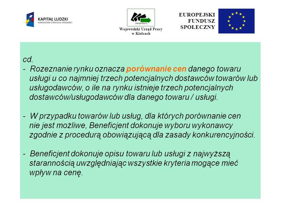 19 EUROPEJSKI FUNDUSZ SPOŁECZNY Wojewódzki Urząd Pracy w Kielcach cd.
