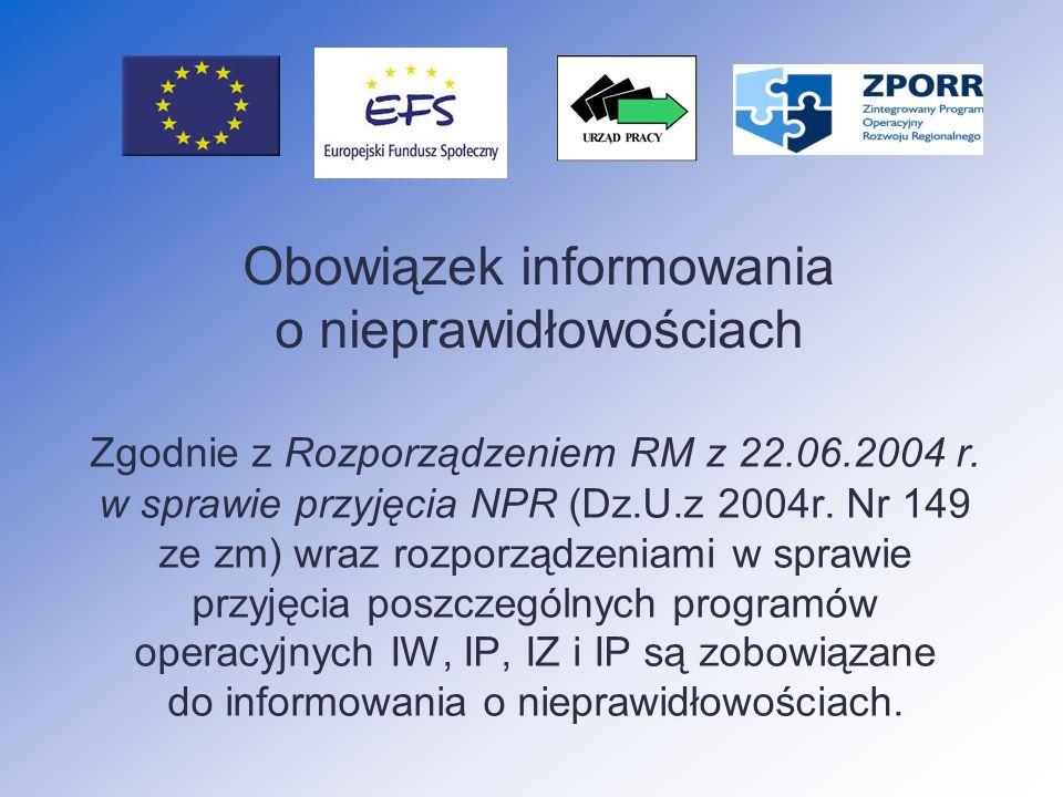 Instytucje zaangażowane w proces informowania o nieprawidłowościach Instytucja Wdrażająca Instytucja Pośrednicząca Instytucja Zarządzająca Instytucja