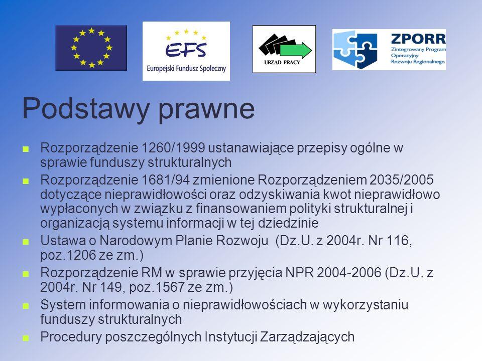 Podstawy prawne Rozporządzenie 1260/1999 ustanawiające przepisy ogólne w sprawie funduszy strukturalnych Rozporządzenie 1681/94 zmienione Rozporządzeniem 2035/2005 dotyczące nieprawidłowości oraz odzyskiwania kwot nieprawidłowo wypłaconych w związku z finansowaniem polityki strukturalnej i organizacją systemu informacji w tej dziedzinie Ustawa o Narodowym Planie Rozwoju (Dz.U.