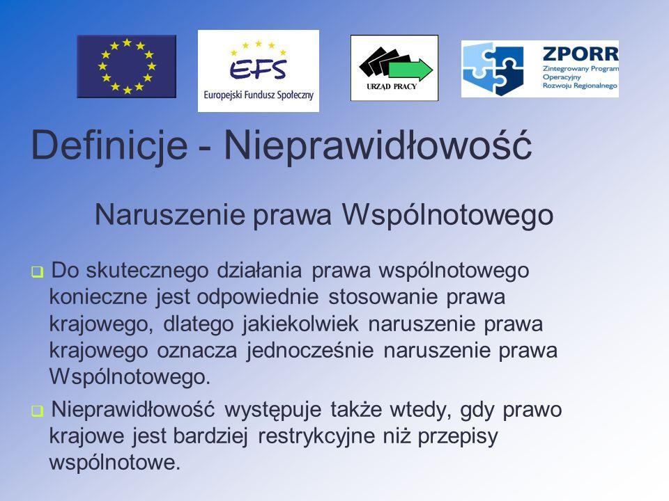 Nieprawidłowości podlegające raportowaniu do KE Niezależnie od kwoty KE wyraźnie zażądała przekazywania informacji dotyczących danej nieprawidłowości nieprawidłowość może mieć wkrótce negatywne następstwa poza terytorium Rzeczypospolitej Polskiej nieprawidłowość ukazuje, że zastosowano nową nielegalną praktykę (metodę oszustwa)