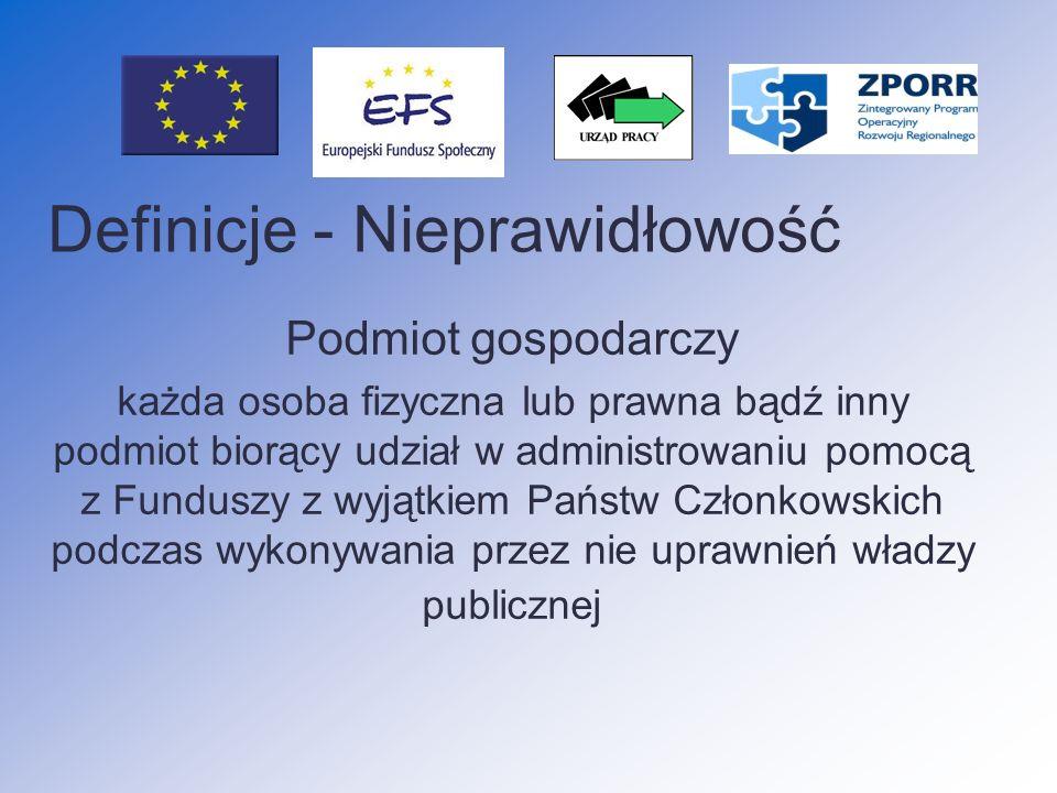 Nieprawidłowości podlegające raportowaniu do KE nieprawidłowości odnoszące się do kwot poniżej 10 000 EUR W przypadku gdy zostały zgłoszone do Komisji Europejskiej przed 28 lutym 2006 r.