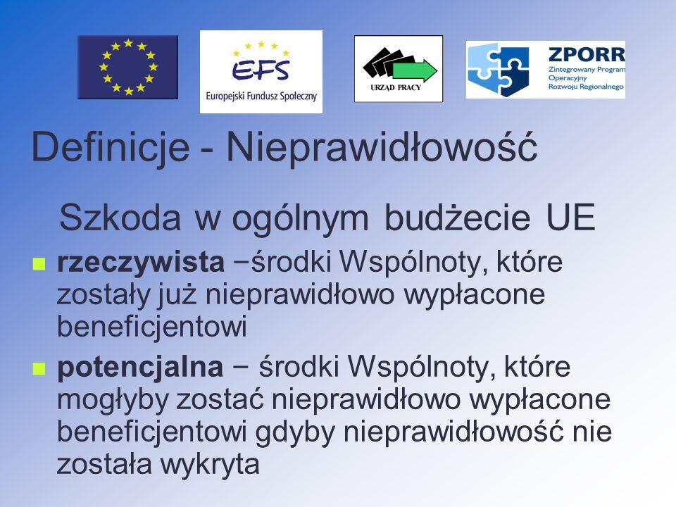 Nieprawidłowości podlegające raportowaniu do KE nieprawidłowości odnoszące się do kwot 10 000 EUR i wyższych wszystkie z wyjątkiem przypadków określonych w rozporządzeniu 1681/94